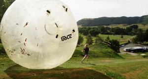 A Different Fun: Ride in an Inflatable Ball Downhill and Chase and Runover Racers