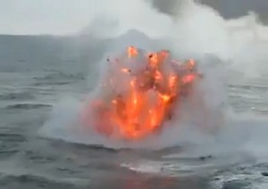 Underwater Volcano? See How Explosive Fire Can Mix with a Raging Sea