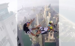 Crazy Parachuting from Top of Tall Building