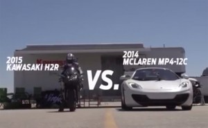 Kawasaki Motor Bike Versus Sports Cars. What's Faster?