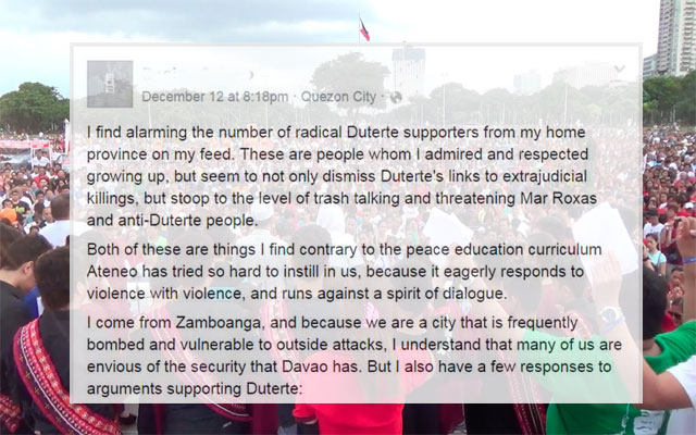 What a Zamboangeña Has to Say to Radical Duterte Supporters