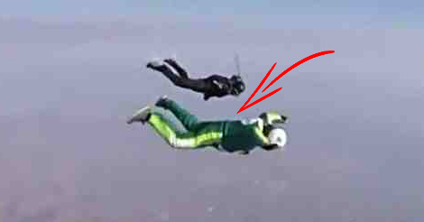 Watch the first man to skydive from 25,000ft without a parachute and land safely